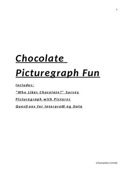 Who Likes Chocolate? Picturegraph Activity- Picturegraph and Questions