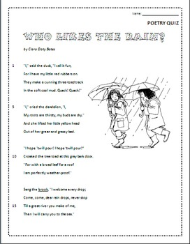 Who Likes the Rain?  Poem and Quiz