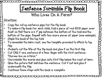 Who Lives On A Farm? Sight Word Sentence Scramble