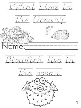 """Who Lives in the Ocean?"" D'Nealian Cut, Trace, and Color Printable Book!"