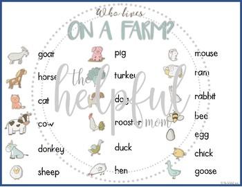 Who Lives on a Farm? ~ animal clip cards FREEBIE