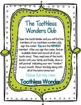 Who Lost a Tooth?  Home to School Literacy Activity