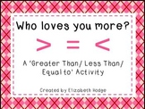 Who Loves You More? A Greater Than/ Less Than/ Equal To Activity