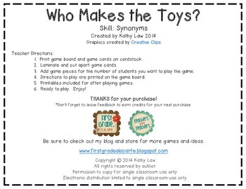 Who Makes the Toys? - Synonyms