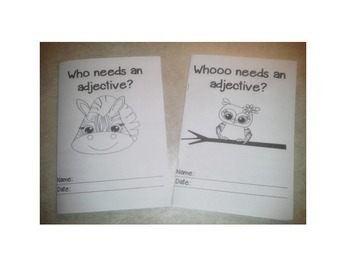 Adjective Practice: includes two booklets, task cards, and a crossword