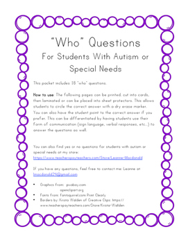 Who Questions- Autism