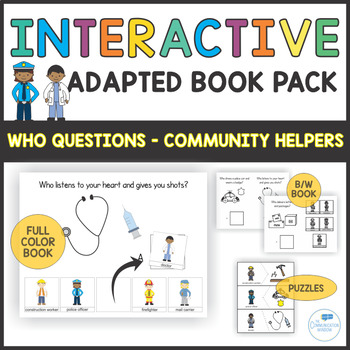 Who Questions - Preschool Autism Adapted Book and Activities - Community Helpers