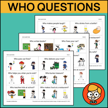 Who Questions with Three Visual Answer Choices