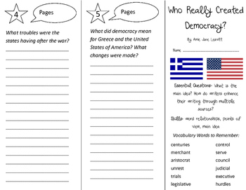 Who Really Created Democracy? Trifold - ReadyGen 3rd Grade Unit 4 Module B