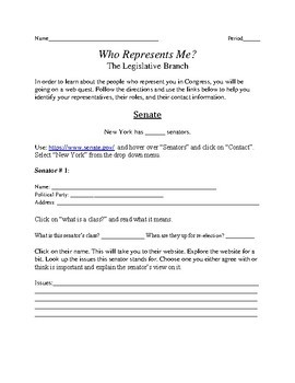 Who Represents Me?: Learning about the representatives we have in Congress
