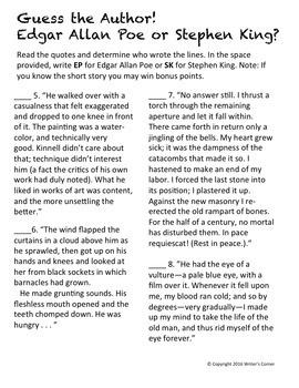 Who Said It? Edgar Allan Poe or Stephen King? Writing Fluency, Sub Plan, Fun