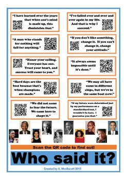Who Said It?  Famous African American Quotes Poster w/ QR Codes