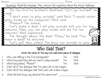 Who Said That? A Dialogue and Quotation Mark Unit for Readers and Writers
