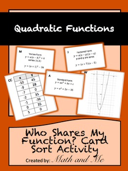 Who Shares My Quadratic Function? Card Sort Activity
