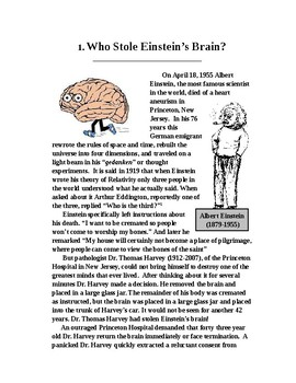 Who Stole Einstein's Brain? Science Literacy Article with Follow-up Questions