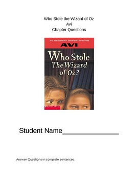 Who Stole The Wizard of Oz Chapter Questions