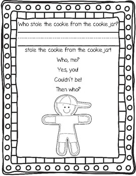 Who Stole the Cookie From the Cookie Jar?  Class Book  (Gingerbread Version)