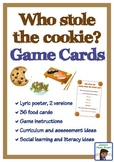 Who Stole the Cookie from the Cookie Jar game cards and poster
