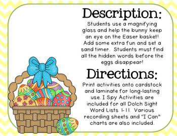 Who Took the Eggs from the Easter Basket? Dolch Sight Word I Spy