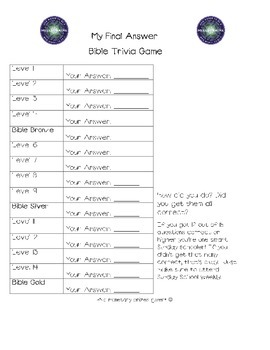 Who Wants To Be A Millionaire Bible Edition Answer Sheet &