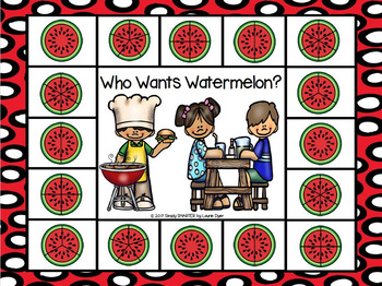 Who Wants Watermelon?:  NO PREP Summer Themed Equal Parts Spot and Dot Game