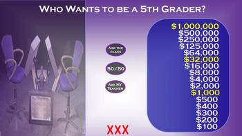Who Wants to Be a Millionaire (or 5th Grader!) Interactive Game ~ Promethean