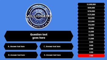 Who wants to be a millionaire? Template.