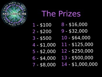 Who Wants to Be a Millionaire? Test Prep PPT