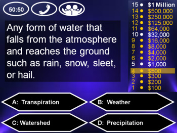 Who Wants to be a Millionaire Game Show: Water Cycle