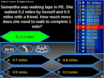 Who Wants to be a Millionaire Math Review Game