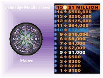 Who Wants to be a Millionaire?  Matter Edition