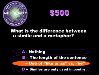 Who Wants to be a Millionaire- Literacy Review 1