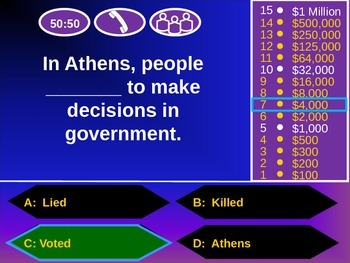Who Wants to be a Millionaire? Review Game: Ancient Greece Edition