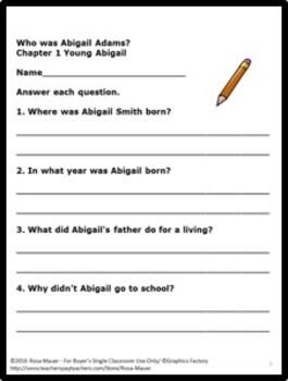 Who Was Abigail Adams? Book Unit