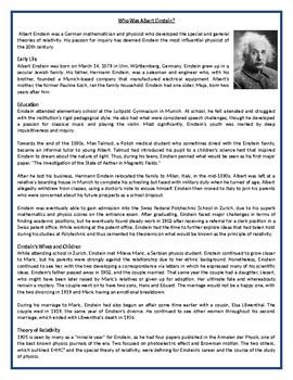 Who Was Albert Einstein? - Reading Comprehension