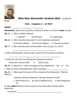 Who Was Alexander Graham Bell Chapters 5 - 10