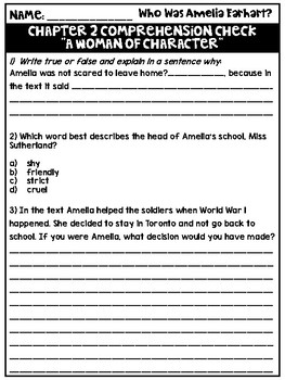 Who Was Amelia Earhart? Comprehension Questions