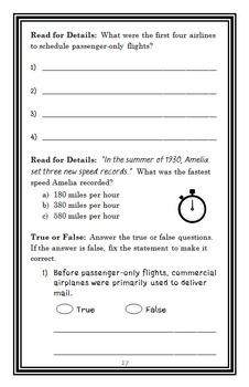 Who Was Amelia Earhart? (Kate Boehm Jerome) Book Study / Comprehension  (29 pgs)