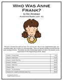 Who Was Anne Frank?  by Ann Abramson Literature Unit