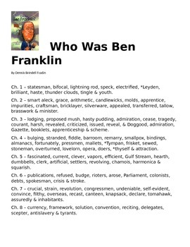 Who Was Ben Franklin - Vocabulary List