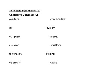 Who Was Ben Franklin?  Vocabulary Booklet