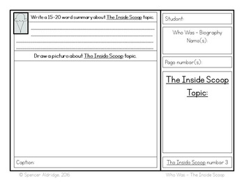 Who Was Biography Series - INSIDE SCOOP Fill-in Comprehension Organizer