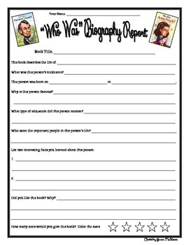"""Who Was... Book Series"" Biography Report Form"