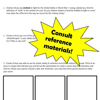 Who Was Charles Schulz?: Use Reference Materials and Indicate Titles of Works