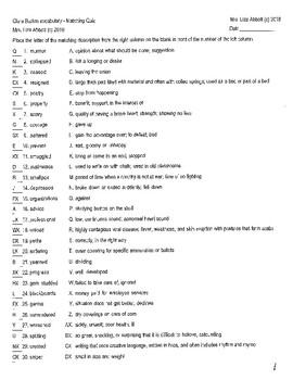 Who Was Clara Barton vocabulary resources