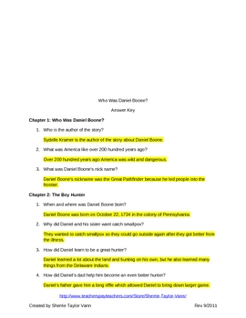 Who Was Daniel Boone by Kramer Comprehension Questions