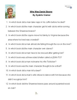 Who Was Daniel Boone by Sydelle Kramer, Battle of the Books Questions