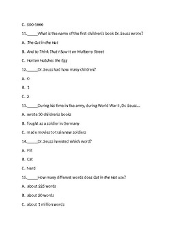 Who Was Dr. Seuss? By Janet B. Pascal 20 Question Multiple Choice Test