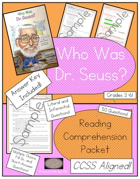 Who Was Dr. Seuss? - Reading Comprehension Packet