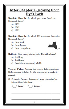 Who Was Franklin Roosevelt? (Margaret Frith) Book Study / Comprehension (25 pgs)